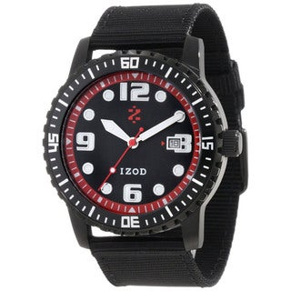 Izod Men's Black Nylon Strap Red Dial Quartz Watch