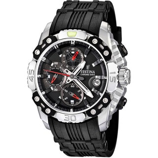 Festina Men's 'Tour de France' Black Rubber Quartz Black Dial Watch