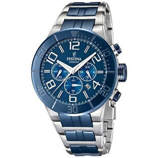 Festina Men's 'Ceramic' Two-tone Quartz Blue Dial Watch