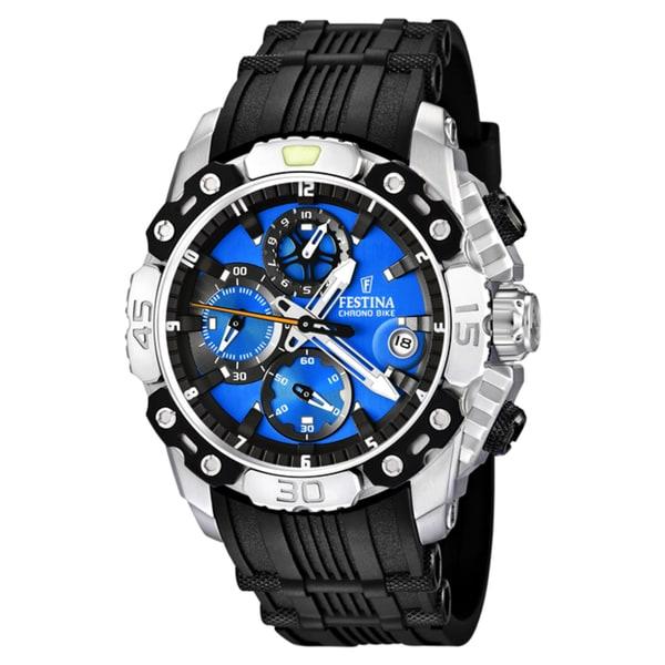 Festina Men's 'Tour de France' Black Rubber Quartz Blue Dial Watch