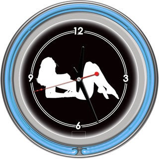 Shadow Babes A Series Two Blue Neon Rings Clock