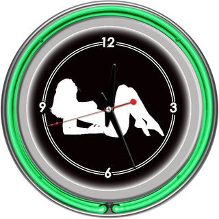 Shadow Babes A Series Two Green Neon Rings Clock