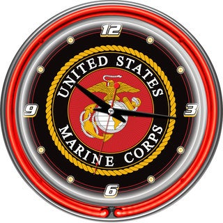 United States Marine Corps Chrome/ Neon Ring Clock