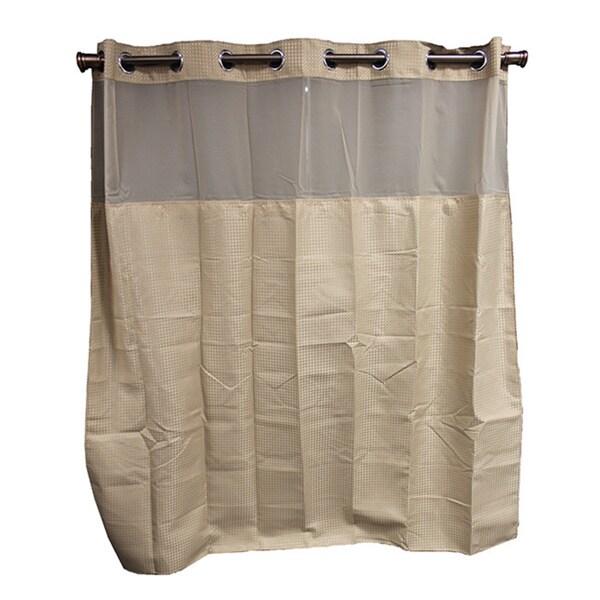 Hookless Taupe Diamond Shower Curtain Overstock