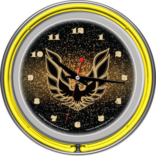 Pontiac Firebird Black Chrome Double Ring Neon Clock