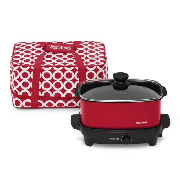 West Bend Versatility Red 5-quart Slow Cooker with Tote