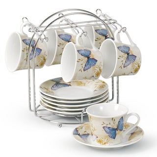 Lorren Home Trend Butterfly Design Espresso Set