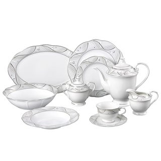 Lorren Home Trend Sophia Porcelain 47-piece Dinnerware Set