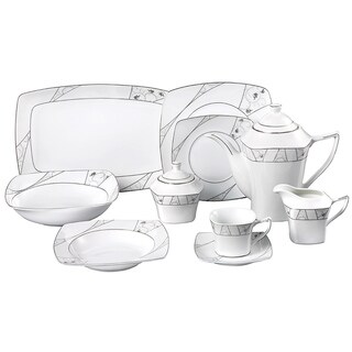 Lorren Home Trend Alexa Porcelain 47-piece Dinnerware Set
