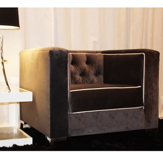 Decenni Custom Furniture 'Tobias' Grey Velvet Tufted Accent Chair