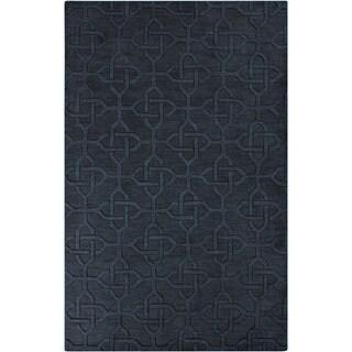 Hand-crafted Links Black Geometric Wool Rug (8' x 11')