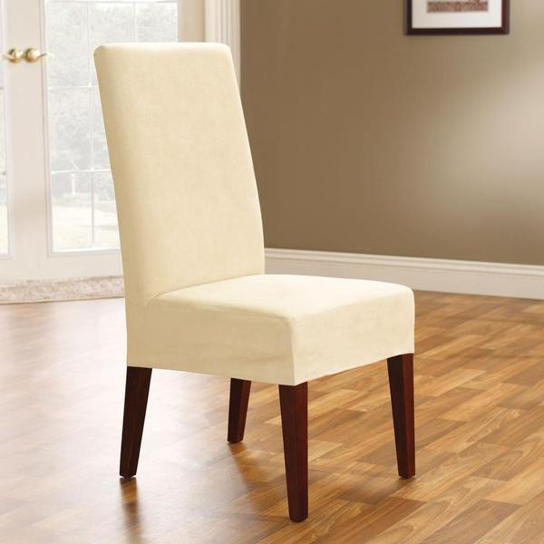 sure fit soft suede cream short dining chair cover