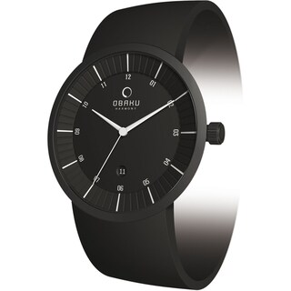 Obaku Men's V121GBBVB Black Leather Black Dial Quartz Watch