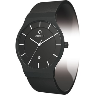 Obaku Men's V123GBBRB Black Leather Black Dial Quartz Watch