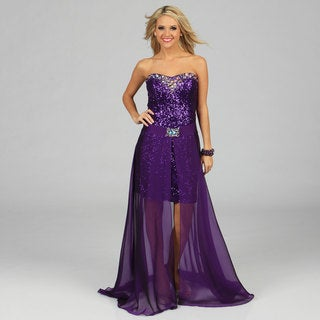 Ignite Evenings Women's Purple Allover Sequin Embellished Twofer Evening Dress