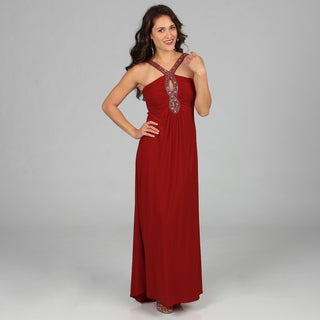 Ignite Evenings Women's Red Beaded Loop Front Halter Long Gown