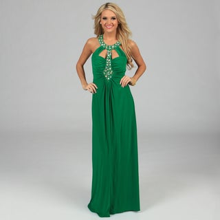 Ignite Evenings Women's Jade Green Jeweled Neckline Long Halter Dress