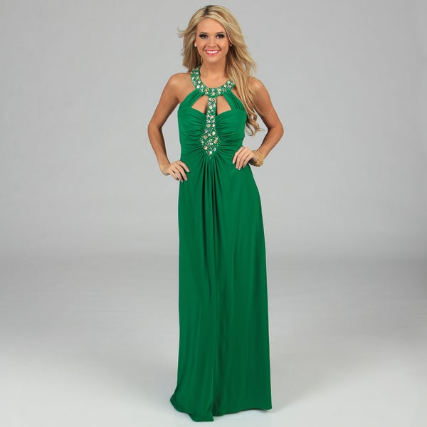 Ignite Evenings Women's Jade Green Jeweled Neckline Long Halter Dress