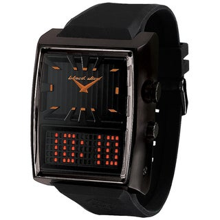 Black Dice Men's Duo Projekt Black Rubber Black Dial Quartz Watch with Orange Hands