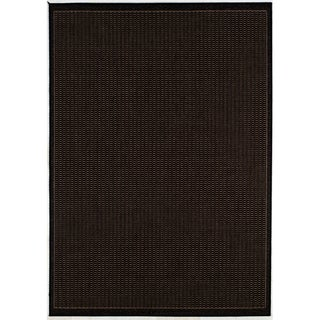 Recife Saddle Stitch Black Rug (5'3 x 7'6)