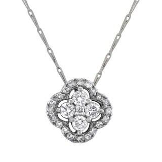 Beverly Hills Charm 14k White Gold Diamond 'Halo Clover' Necklace (H-I, SI2-I1)