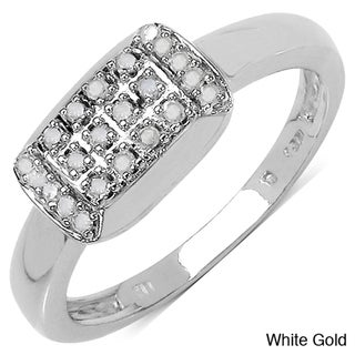 Malaika 14k Gold over Sterling Silver 1/8ct TDW Diamond Ring (I-J, I3)