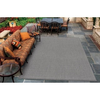 Recife Saddle Stitch Grey Rug (3'9 x 5'5)