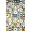 Handmade Light Blue Geometric Squares Outdoor Rug (5' x 7'6)