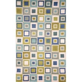 Handmade Light Blue Geometric Squares Outdoor Rug (7'6 x9'6 )