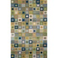 Blue Multicolored Boxes Geometric Indoor Rug (5' x 7'6)