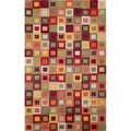Red Multicolored Boxes Geometric Indoor Rug (5' x 7'6)