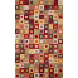 Red Multicolored Boxes Geometric Indoor Rug (7'6 x 9'6)