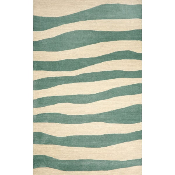 Aqua and Ivory Wide Stripe UV Stabilized Outdoor Rug (42' x 66')