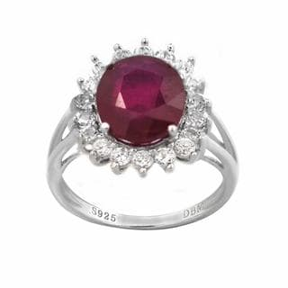 De Buman Sterling Silver Ruby and Cubic Zirconia Ring