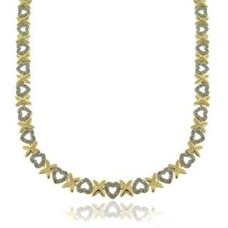 Finesque 14k Gold Overlay 1/10ct TDW Diamond Hearts and 'X' Necklace (I-J, I2-I3)