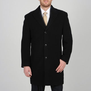 Alfani Men's Black Wool-cashmere Button-front Carcoat