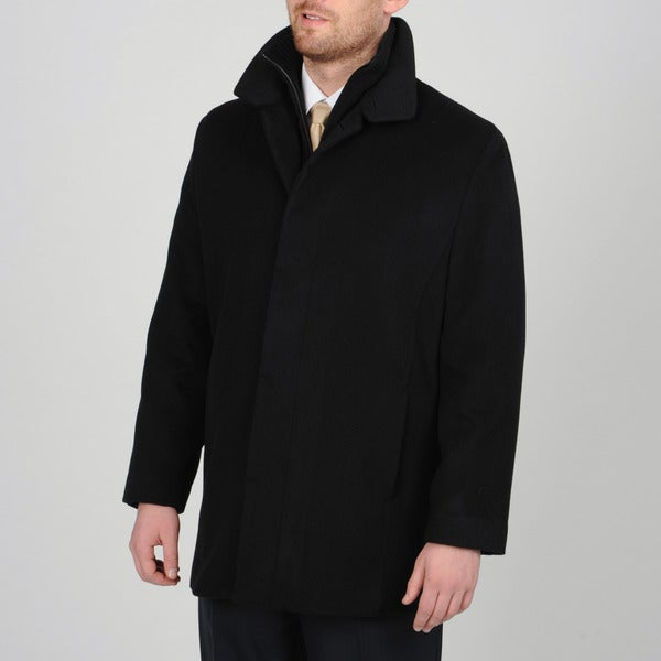 Tasso Elba Men's Black Wool-blend Carcoat with Bib