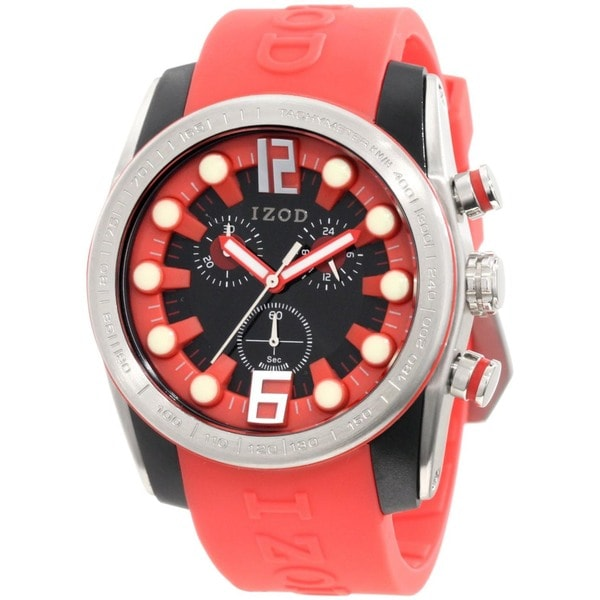 Izod Men's Red Resin Black Dial Quartz Watch