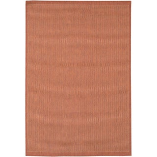 "Recife Saddle Stitch/ Terra Cotta Natural Rug (3'9"" x 5'5"")"