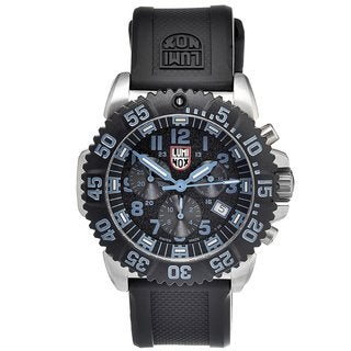 Luminox Men's Navy SEAL Steel 'Colormark' Chrono Black/ Blue Watch