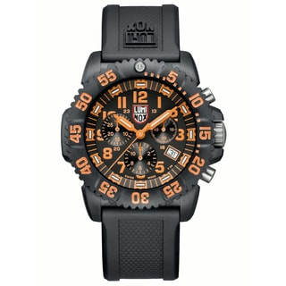 Luminox Men's A.3089 'Colormark' Black/Orange Dial Black Rubber Strap Quartz Watch