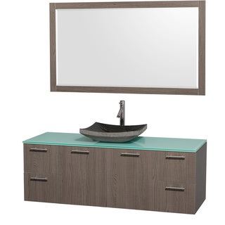 Wyndham Collection 'Amare' 60-inch Grey Oak/ Green Top/ Granite Sink Vanity Set