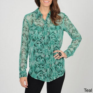 Grace Elements Women's Snake Skin Print Button-down Top