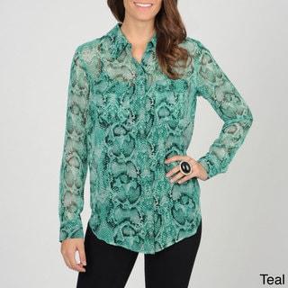 Grace Elements Women's Snake Skin Print Button-down Top