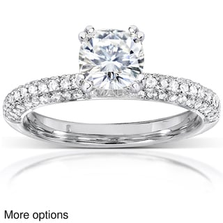 Annello 14k White Gold Cushion-cut Moissanite and 1/4ct TDW Diamond Engagement Ring (G-H, I1-I2)