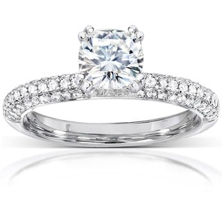 Annello 14k White Gold Cushion-cut Moissanite and 1/4ct TDW Diamond Engagement Ring (G-H, I1-I2) with Bonus Item
