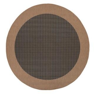 """Recife Checkered Field/ Black Cocoa Round Rug (8'6"""")"""