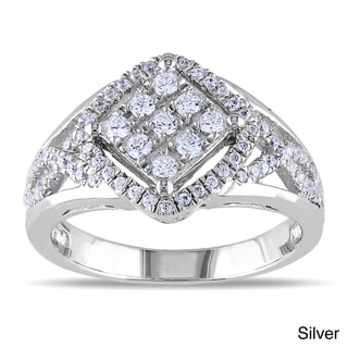 Miadora Rose or White Goldplated Silver Cubic Zirconia Criss-cross Ring