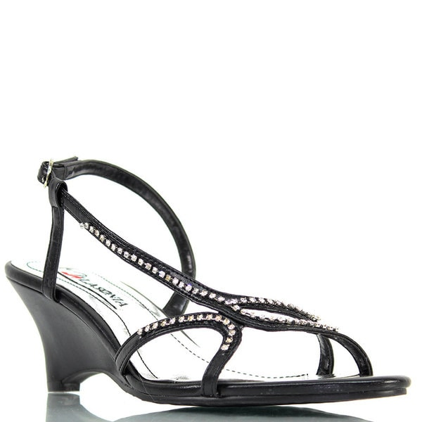 Stanzino Women's Rhinestone Strap Low Heel Slingbacks