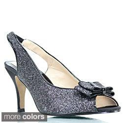 Stanzino Women's Glitter Vamp Two-tone Peep-toe Heels
